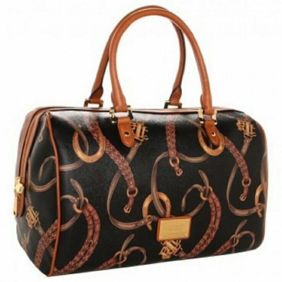b2594c1474 Lauren Ralph Lauren Handbags - Lauren RL Caldwell Belting Barrel Satchel